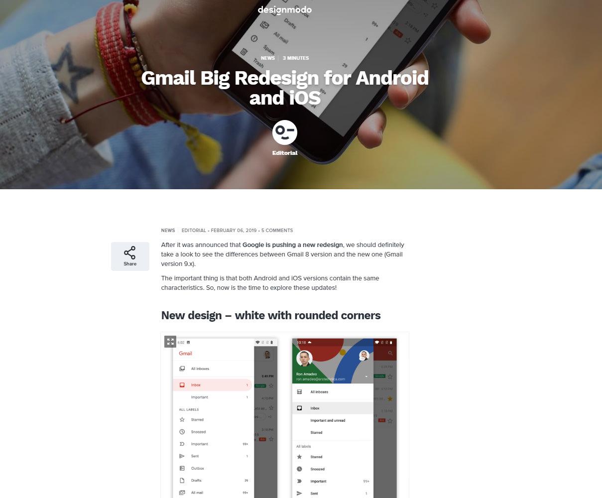 Partial Screen Capture of Designmodo article.